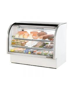 """True TCGG-60-LD 60"""" White Curved Glass Refrigerated Deli Case - 30 cu. ft."""