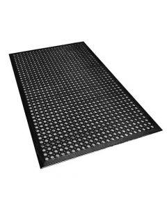 Omcan Black Anti-Fatigue Mat - 3' x 5' x 3/8