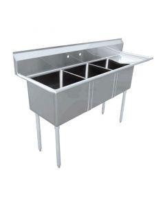 "Zanduco 18-Gauge Stainless Steel 18"" X 18"" X 11"" Three Tub Sink with 1.8"" Corner Drain and Right Drain Board"