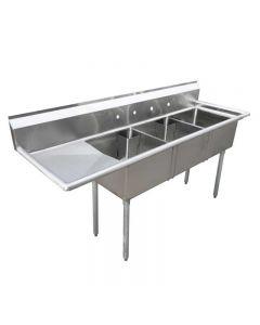 "Zanduco 18-Gauge Stainless Steel 24"" X 24"" X 14"" Three Tub Sink with 1.8"" Corner Drain and Left Drain Board"
