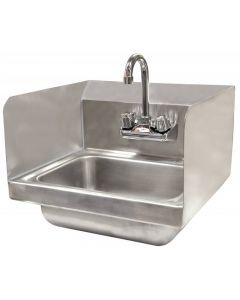 """Hand Sink - Wall Mounted With 2 Sides Splash & 4""""   Faucet"""