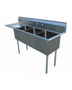 """Zanduco 18"""" X 18"""" X 11"""" Three Tub Sink with 1.8"""" Corner Drain and Left Drain Board"""