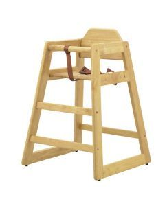 Commercial Wooden High Chair with Natural Finish