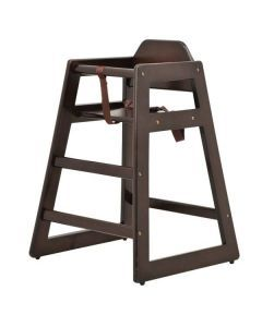 Commercial Wooden High Chair with Mahogany Finish