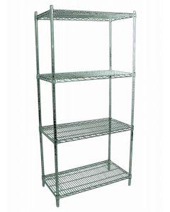 "Zanduco Heavy Duty Commercial Chrome Shelf Set 24""   X 48""   Shelves & 72""   Posts With Levelers"