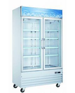 "Zanduco 49"" 2-Door Swing Glass Merchandiser Freezer - White 29 cu. Ft."
