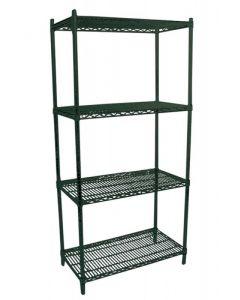 "Zanduco Heavy Duty Commercial Epoxy Shelf Set (4) 24""   X 36""   Shelves & (4) 72""   Posts With Levelers"