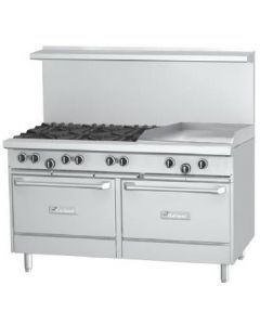 """Garland G60-6G24RR G Series 60"""" Gas Range with 24"""" Raised Griddle, 6 Burners and 2 Ovens"""