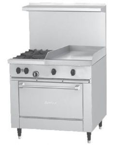 """Garland X36-2G24R Sunfire™ X Series 36"""" Gas Restaurant Range with 24"""" Griddle, 2 Burners and 26"""" Oven"""