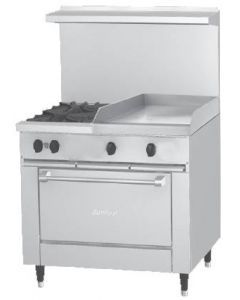 """Garland X36-2G24S Sunfire™ X Series 36"""" Gas Restaurant Range with 24"""" Griddle, 2 Burners and Storage Base"""