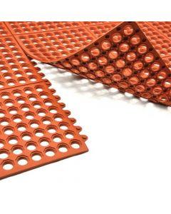 Omcan Terracotta Anti-Fatigue Mat with Interlocking Edges, 3' x 3'