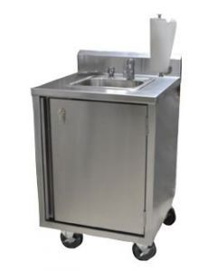 BK Resources MHS-2424-H-MF Portable Hand Sink with Soap Dispenser and Metering Hot Water Faucet
