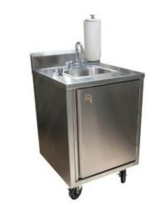 BK Resources MHS-2424-CH-BKD Portable Hand Sink with Soap Dispenser and Standard Hot/Cold Water Faucet