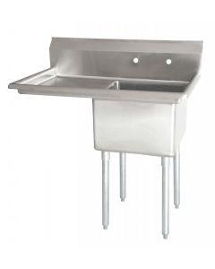 "Zanduco 18-Gauge Stainless Steel 24"" X 24"" X 14"" One Tub Sink with 1.8"" Corner Drain and Left Drain Board"