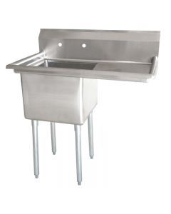 """Zanduco 18-Gauge Stainless Steel 18"""" X 18"""" X 11"""" One Tub Sink with 1.8"""" Corner Drain and Right Drain Board"""