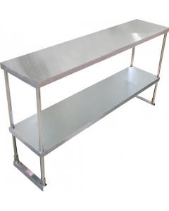 """SS Overshelf Double Tier 14"""" x 60"""" x 32"""" with SS Leg and Socket"""