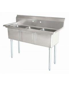 """Zanduco 18"""" X 21"""" X 14"""" Three Tub Sink with 1.8"""" Corner Drain and No Drain Board"""