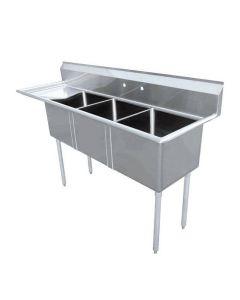 "Zanduco 18-Gauge Stainless Steel 18"" X 21"" X 14"" Three Tub Sink with 1.8"" Corner Drain and Left Drain Board"