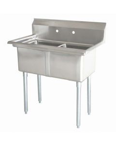 """Zanduco 18-Gauge Stainless Steel 24"""" X 24"""" X 14"""" Two Tub Sink with 1.8"""" Corner Drain and No Drain Board"""