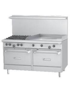 "Garland U60-4G36RR U Series 60"" Gas Restaurant Range with 36"" Griddle, 4 Burners and 2 Ovens"