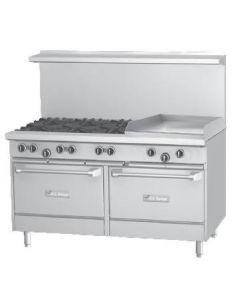 "Garland U60-6G24RR U Series 60"" Gas Restaurant Range with 24"" Griddle, 6 Burners and 2 Ovens"