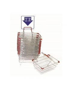 Chrome Shopping Basket Set with English-Spanish Sign and Stand