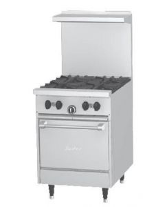 """Garland X24-4L Sunfire™ X Series 24"""" Gas Restaurant Range with 4 Burners and Space Saver Oven"""