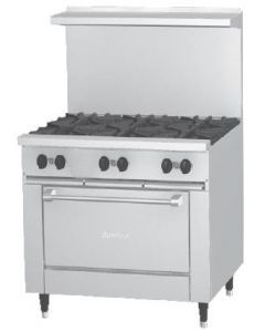 """Garland X36-6S Sunfire™ X Series 36"""" Gas Restaurant Range with 6 Burners and Storage Space"""