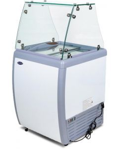 """Zanduco 26"""" Ice Cream Dipping Cabinet / Freezer with Flat Sneeze Guard and 120 L Capacity"""